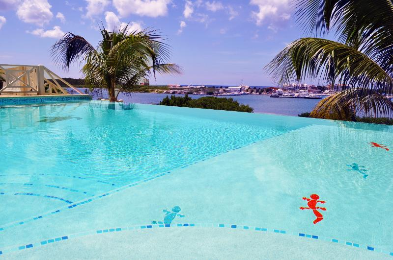 The amazing infinity pool with great sea views. Lots of lounge seats and a shallow area for kids - Waterfront Villa with Pool,Hot Tub,Gym&Ocean View - Willemstad - rentals