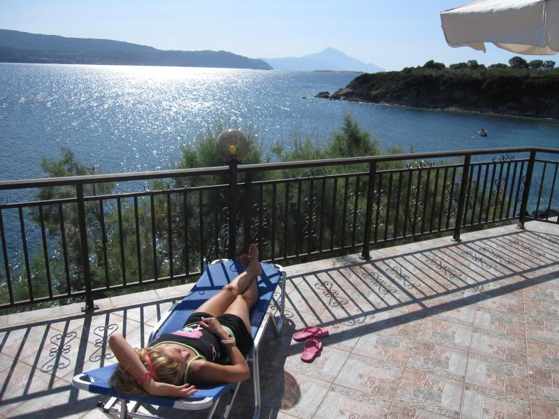 Ground floor patio - VIlla Chara - Beachfront 4BR - Ammouliani Island - Ammouliani - rentals