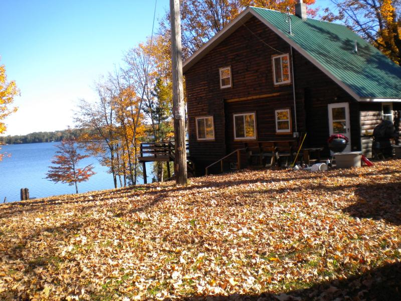 view of cottage from the yard.  Picture was taken in the fall t - Peterson Lodge - A cottage on a beautiful lake - Iron River - rentals