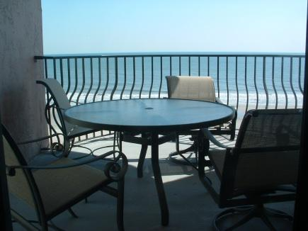 Balcony deck area - Palms 401 VIP 3-bedroom Oceanfront condo - you may not want to leave - Myrtle Beach - rentals