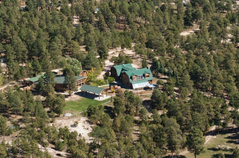 Aerial Shot - 1929 Log Cabin Guest House on 5 acres of pines - Colorado Springs - rentals