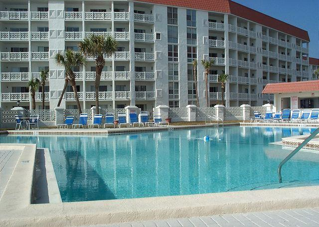 Looking at the pool from Building 3 - El Matador Beach Building, Ground Floor, Upgraded, Two Bedroom. - Fort Walton Beach - rentals