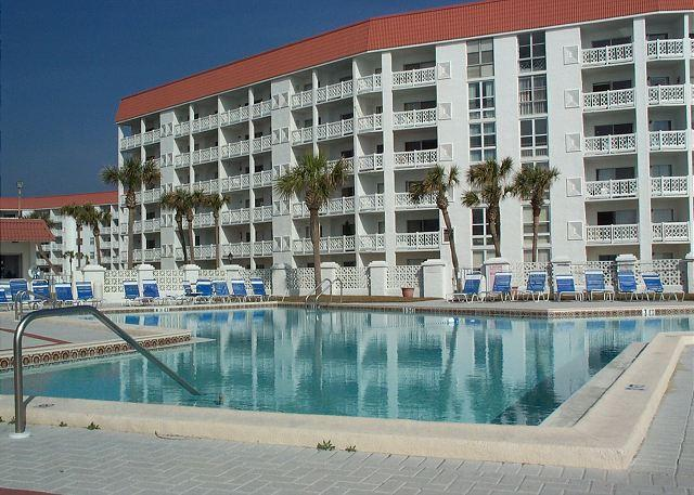 Looking at Building 3 from the pool - A Beach Getaway - Two Bedroom with a Great View to the Gulf. - Fort Walton Beach - rentals