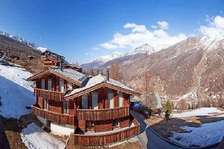 Le Grand Deux Chalet with splendid Swiss Alps view- terraces, ensuite jetted tub - Image 1 - Saas-Fee - rentals