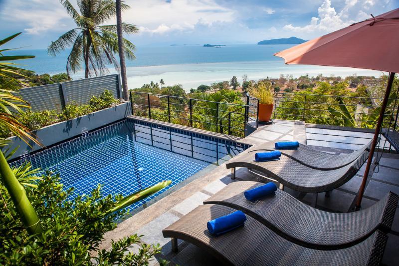 Spectacular ocean views across to the Gulf of Thailand - Brand New, Ocean View, Spectacular 2 Bedroom Villa - Koh Samui - rentals