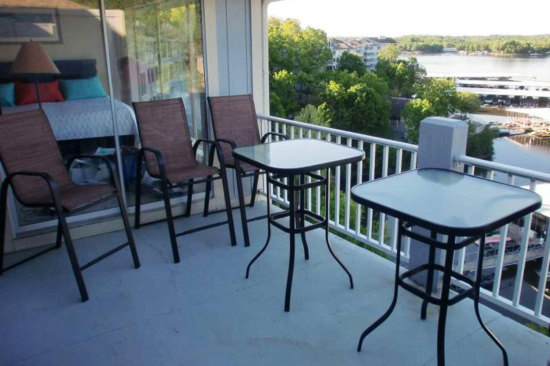 Deck Dining seats 8 - Bar height table and chairs with awesome view of water - Regatta 3 BR Penthouse Townhouse - Lake Ozark - rentals