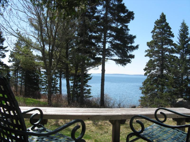 "SE View across the lawn from the deck - Cedarledge Cottage at Seaside Cottages, waterfront, Acadia - ""quiet"" side of MDI - Southwest Harbor - rentals"