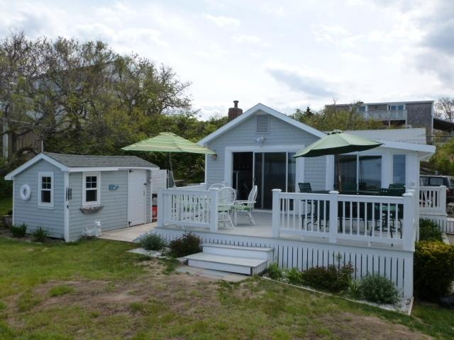 ocean side deck - Ocean front rustic cottage overlooking sandy beach - Plymouth - rentals
