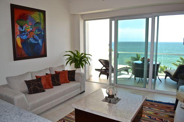 Living room looking out to ocean - Azul Condominium Ocean Escape - Bucerias - rentals