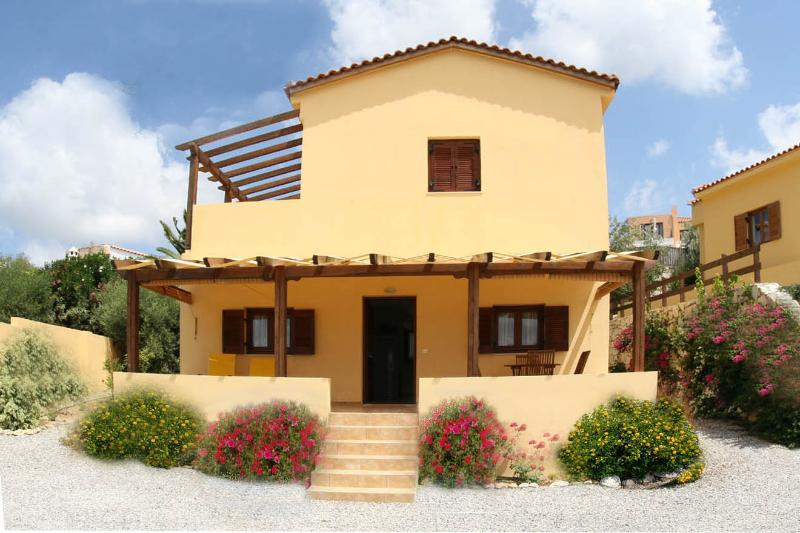 Front of Villa - Modern Villa in quiet village with panoramic views, Jacuzzi, and Free WiFi - Crete - rentals