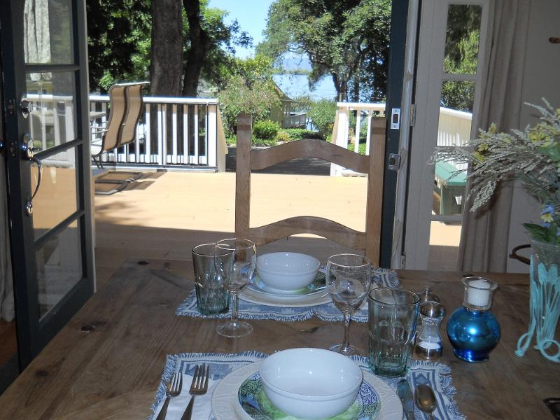 View of Lake from Kitchen and Eating Area - Sunny, Bright Cottage on Private LAKEFRONT Resort! - Kelseyville - rentals