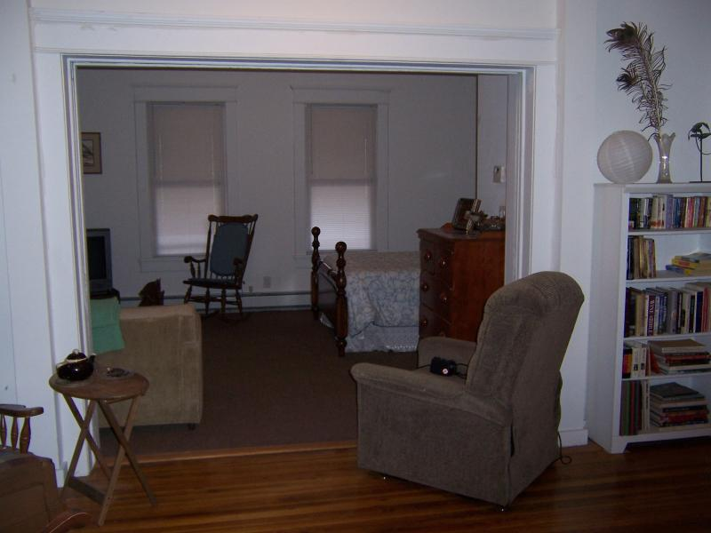view into bedroom/living area- pocket doors in foreground - Panther Mt Lodge-Private studio apt.-Catskill Mts - Big Indian - rentals