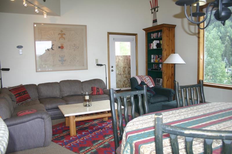 Living Room and Dining Area - 3 BR Slopeside Condo in Charming  Telluride Town - Telluride - rentals