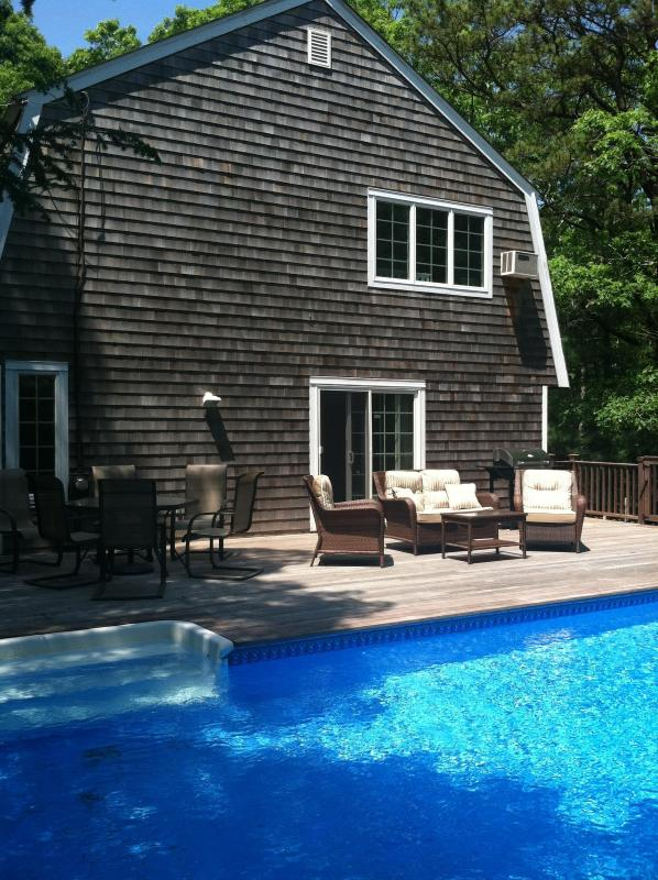 Large Outdoor Living Space With Lounge Area and Dining - Beautiful East Hampton Escape, Heated Pool - East Hampton - rentals