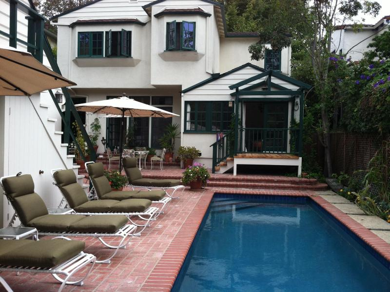 Back of House with Pool - Brentwood Village Home with Pool on Quiet Street - Los Angeles - rentals