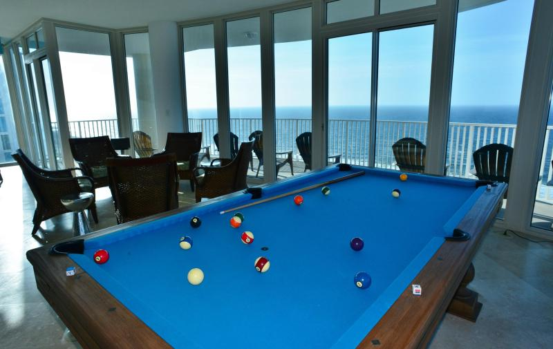 Shoot pool suspended in air in the penthouse salon - overlooking the Gulf! - Penthouse Hypnosis - Pool Table - Walls of Glass - Gulf Shores - rentals