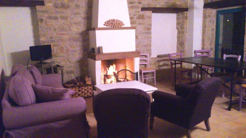 living room with fireplace - Bio Fattoria Fontegeloni, LA RONDINE, 72 m Apartm. - Serra San Quirico - rentals