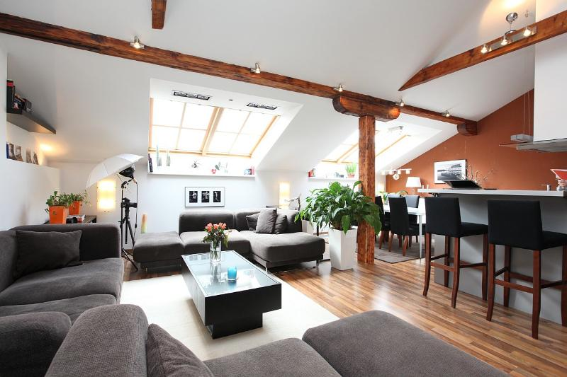 Exclusive apartment in the hearth of Prague. Living room (over 50 sq.m., 540 sq.ft.) - Big Cozy Top Floor Apt. Sauna Jacuzzi Air/Con WiFi - Prague - rentals