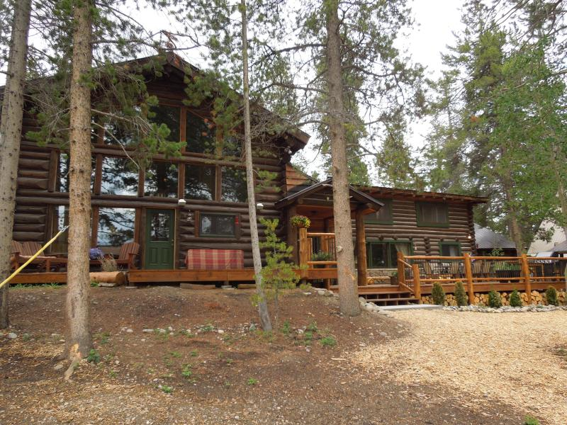 View of Chalet Side from backyard - Lakefront Log home with private dock-sleeps 20 - Grand Lake - rentals