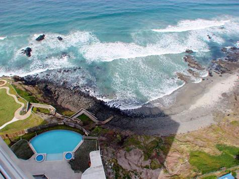 sky view of private beach and infinity pool - Luxury Oceanfront 3 bedroom/ 2 bath condo all amenities 30 minutes south of the border in beautiful Calafia - Rosarito Beach - rentals