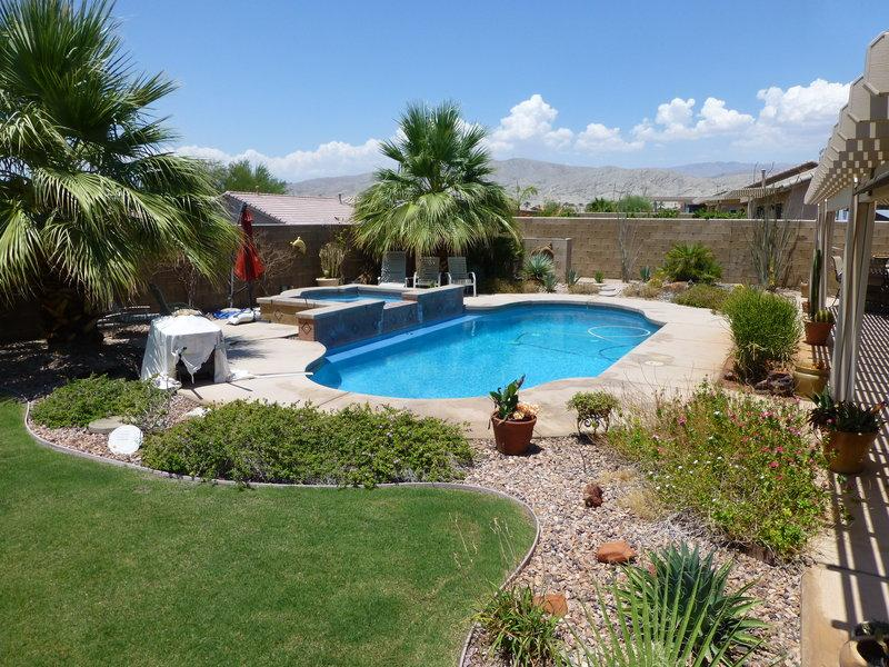 Pool/spa with waterfalls surrounded by palm trees & desertscape with mountain views - Beautiful & Private Pool/Spa Desert Oasis w/RVpad - Indio - rentals