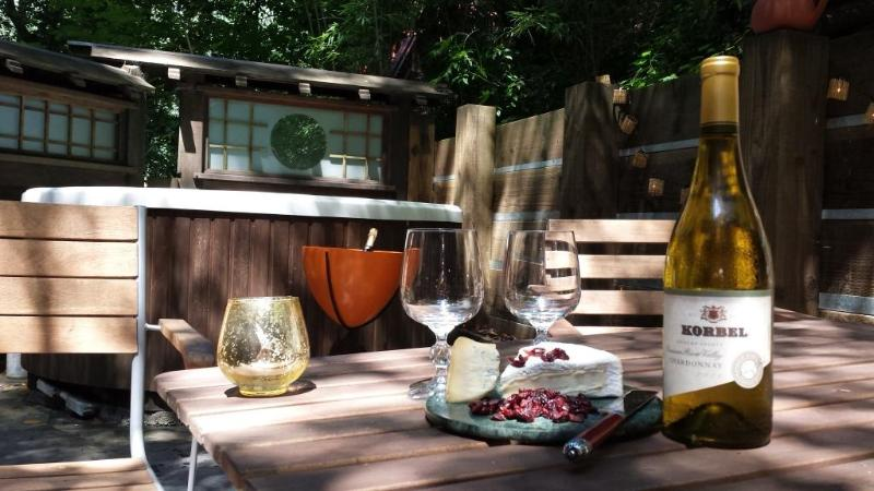 Wine from Korbel winery (located accross Russian river) on the North deck - Upscale Wine Country,SPA,Sauna,Essentials-30% OFF - Forestville - rentals