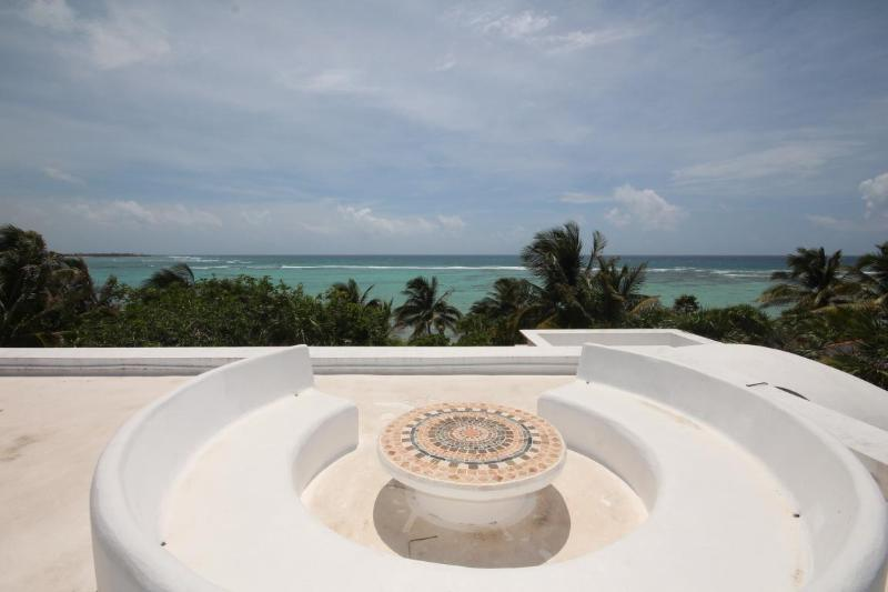 Spectacular Caribbean views from roof top includes round seating area and table. - Casa Texana - Luxurious South Akumal Villa w Pool - Akumal - rentals