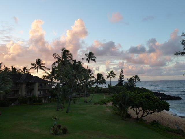 Sunrise View From the Living Room Lanai - Quiet and Private Oceanfront Condo - Lae Nani 535 - Kapaa - rentals