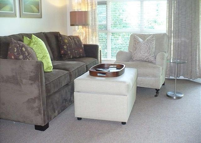 Living room with sofabed - Aspens #423, Beautifully Updated, 1 Bdrm, Ski-in Ski-out, Free Wifi - Whistler - rentals