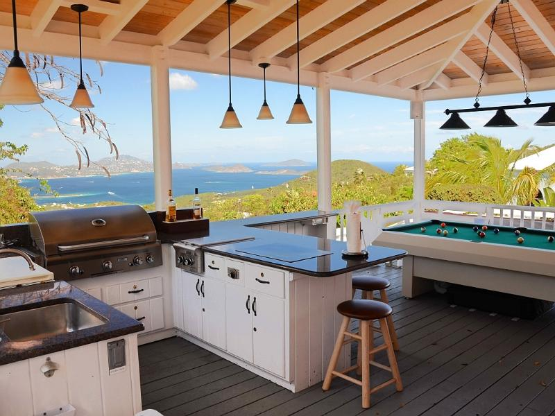 The billiard porch includes a complete granite outdoor kitchen - Coconuts: Panoramic ocean views and sunsets - Cruz Bay - rentals