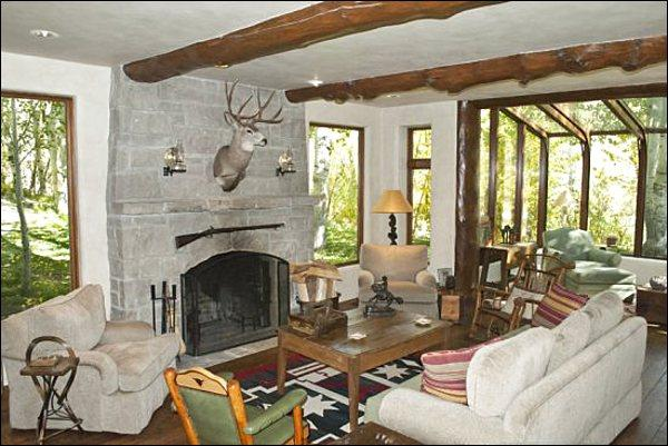 Living Room Features Timber and Stone Accents - Spacious & Rustic Mountain Retreat - High End Finishes Throughout (1241) - Ketchum - rentals