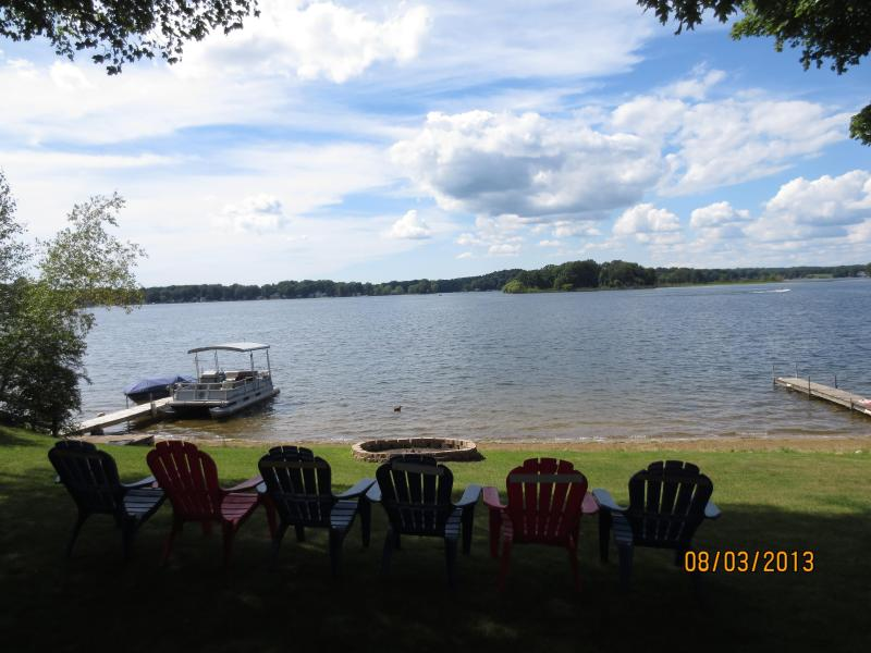 View of the Lake from the Yard - Beautiful Lake House on Crooked Lake, SW Michigan - Delton - rentals