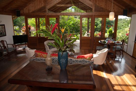 Living room to lanai - Private 4BR Polynesian Inspired Estate - Haiku - Haiku - rentals
