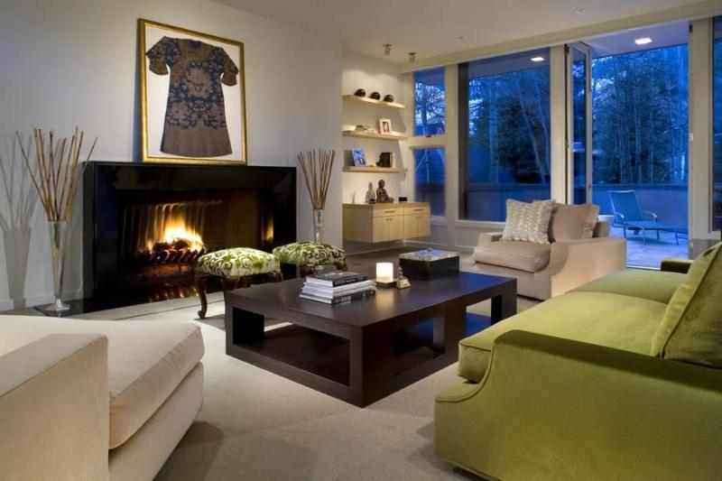 Living room with wood burning fireplace - West End Contemporary with Rooftop Deck - Aspen - rentals