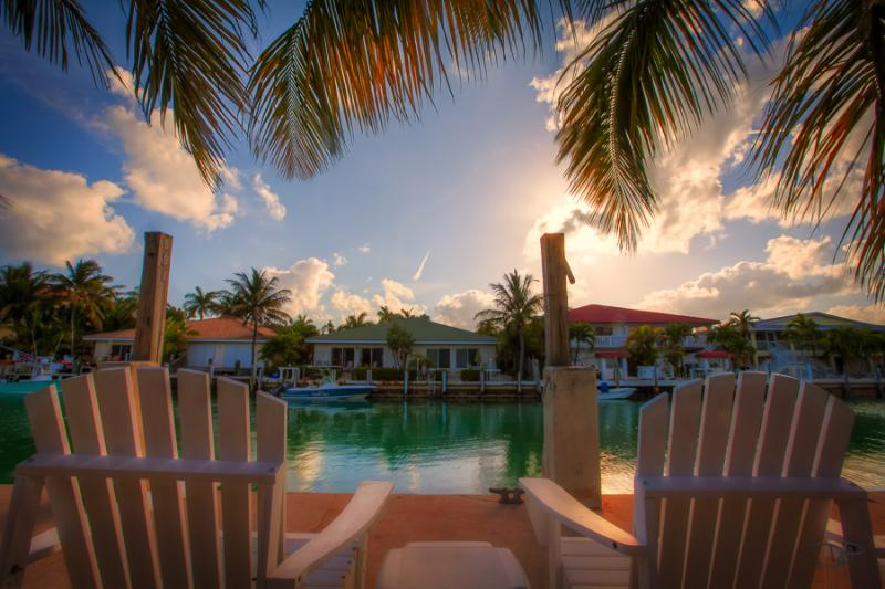 Sit on the dock with a refreshing drink, drop in a line too! - Mar 2017 weeks open, Spring Special! KEYS ESCAPE! Dock,  Bikes, Pool, 2 Beaches - Key Colony Beach - rentals