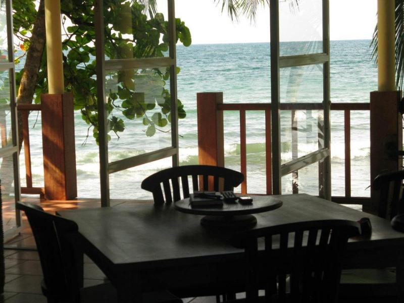 Shorebreak Dining Area. Capture the ocean views while dining. - Shorebreak - Ocean Front Custom Vacation Home Rent - Isla Bastimentos - rentals