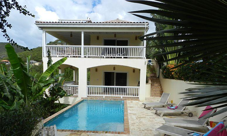 Satori's two levels; The upper Great Room and the Lower bedroom, each with lots of deck space - Satori Villa St John walk to water, pool, full house a/c, hottub - Saint John - rentals