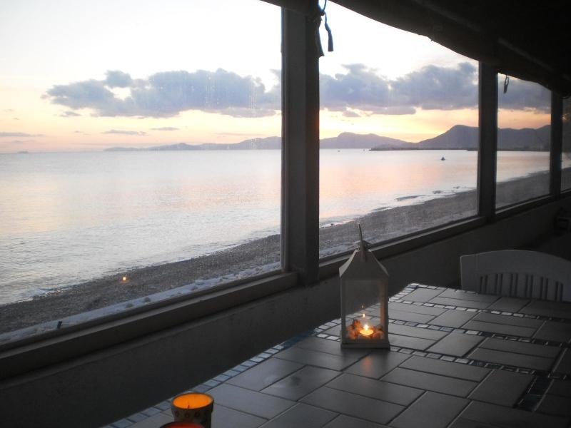 winter photos taken from the veranda of the house which closes with windows in winter - BEACH HOUSE - LIVING ON THE SEA - SAMOS ISLAND - Marathokampos - rentals