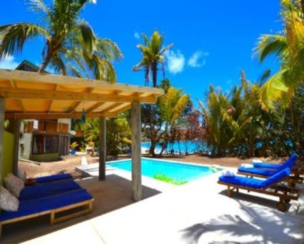 A modern, chic, eco 4 bedroom house with a swimming pool on the white sands of a beautiful Caribbean beach, 4 expertly decorated bedrooms, beach hut with speakers and kitchen bar.(v) - Image 1 - Friendship Beach - rentals