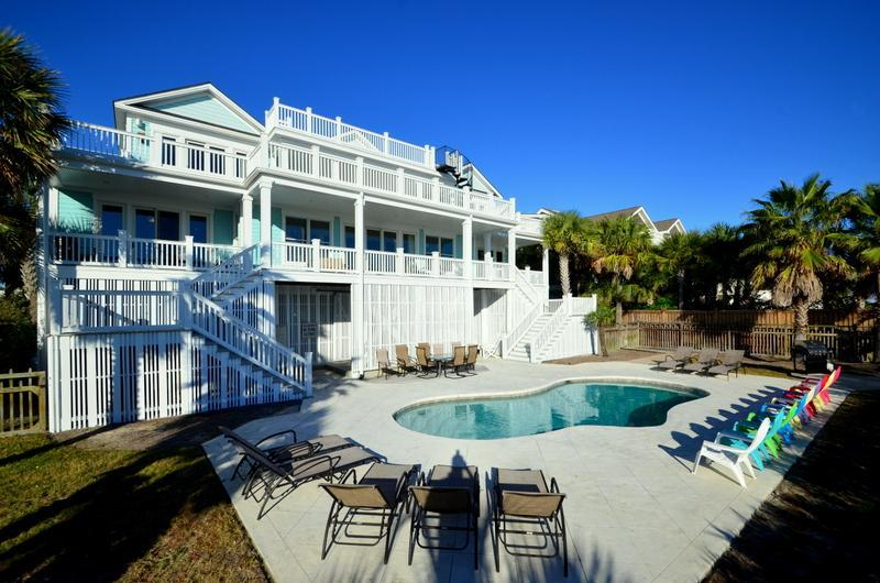 Rear Exterior - Oceanfront Home with Pool, Viewing Porches, and Private Boardwalk to Beach! - Isle of Palms - rentals