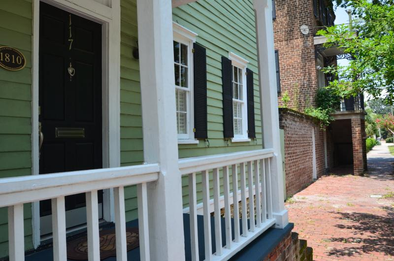 Exterior with brick walkway on Houston St. - Henry Cunningham Estate - Savannah - rentals