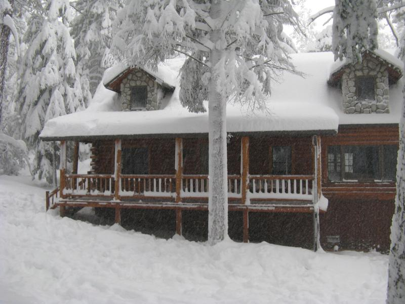 Our Cabin front yard in last winter's big storm - Luxury Lodge Secluded Deep in the Forest - Pine Mountain Club - rentals