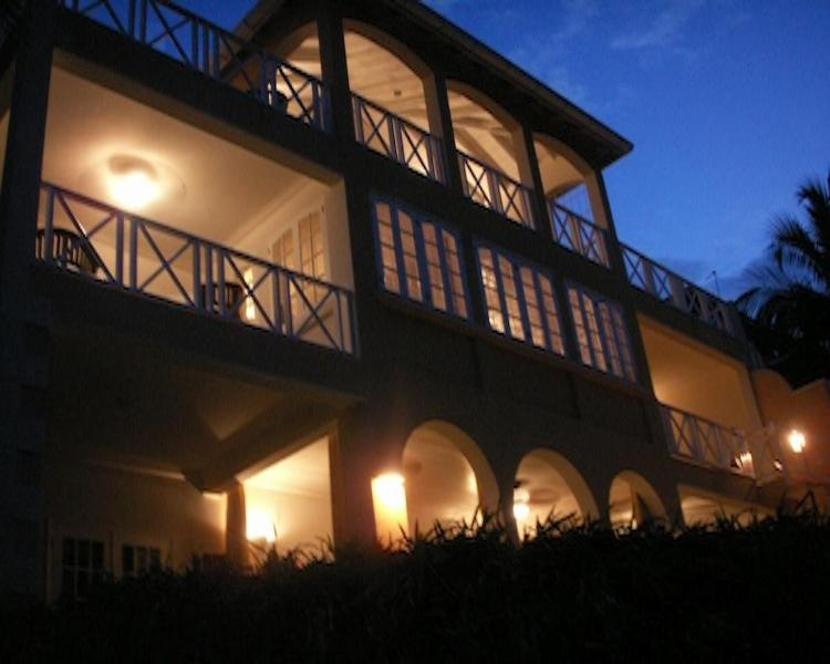 Rear View of Bruadair At Night - Large 7 Bedroom Luxury Villa Holetown Barbados - Holetown - rentals