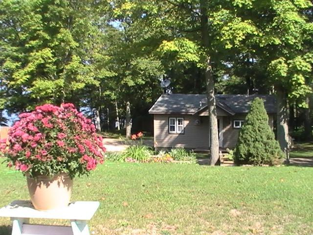 Side view of Cabin , Lake to the left - sunset pointe resort - Curtis - rentals
