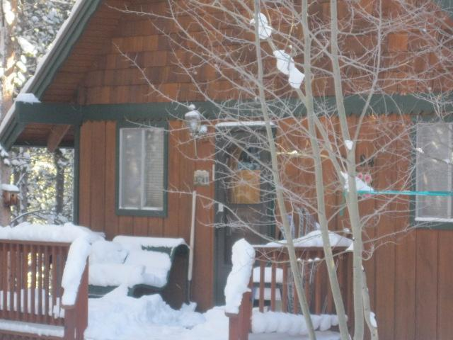 Front Door To cabin in Winter - Family Mountain Cabin In The Woods - Breckenridge - rentals