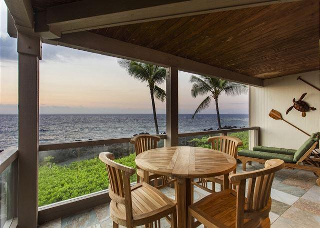 Teak Dining Table on Ocean Front Lanai - Exquisite Ocean Front 2 Bedroom, 2 Bathroom at Surf & Racquet 1206-SR 1206 - Kailua-Kona - rentals