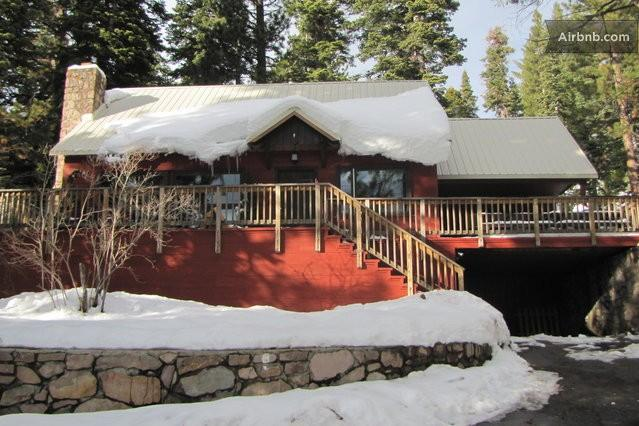 Front view of House with Snow! - Red House by the Lake W Hot Tub & Private Pier!! - Tahoe Vista - rentals