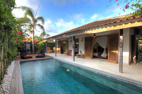 Our private pool surrounding by pool deck with beanbags. - Cozy 2 Bedroom Villa Close to Beach - Bali - rentals