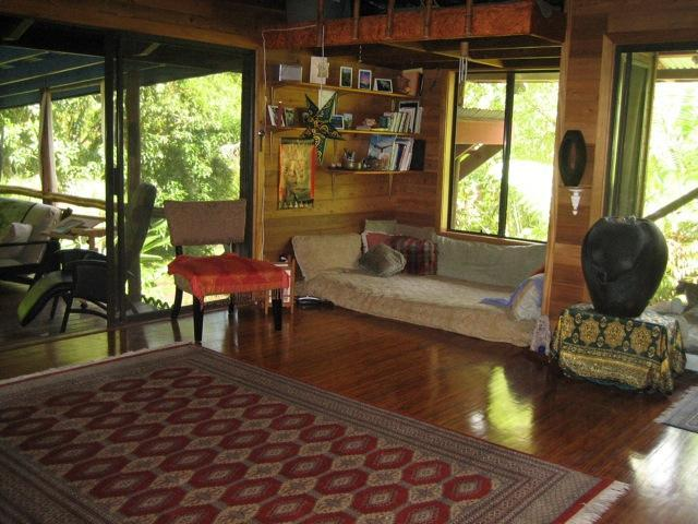 Relax on a futon in the living room alcove - Tropical Paradise Home near Pohoiki Bay - Pahoa - rentals