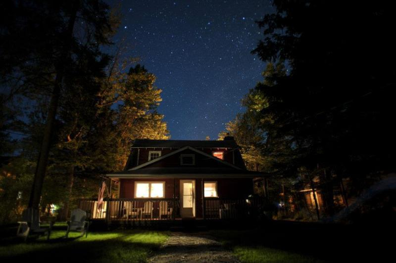 Back of Cottage At Night, Looking At The Stars - Tranquil Lake Cottage Retreat With Magnificent Sun - Caroga Lake - rentals